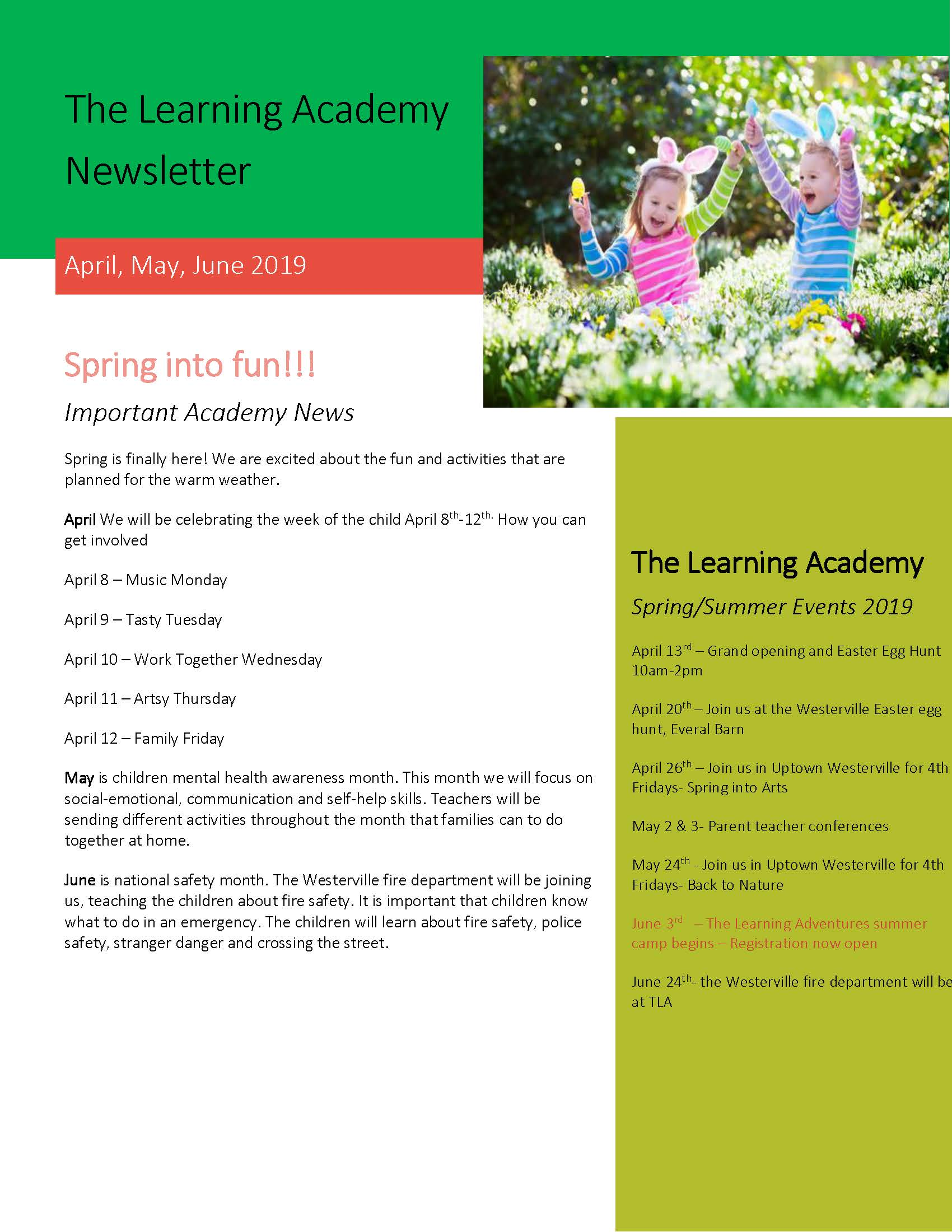The Learning Academy Day Care Newsletter