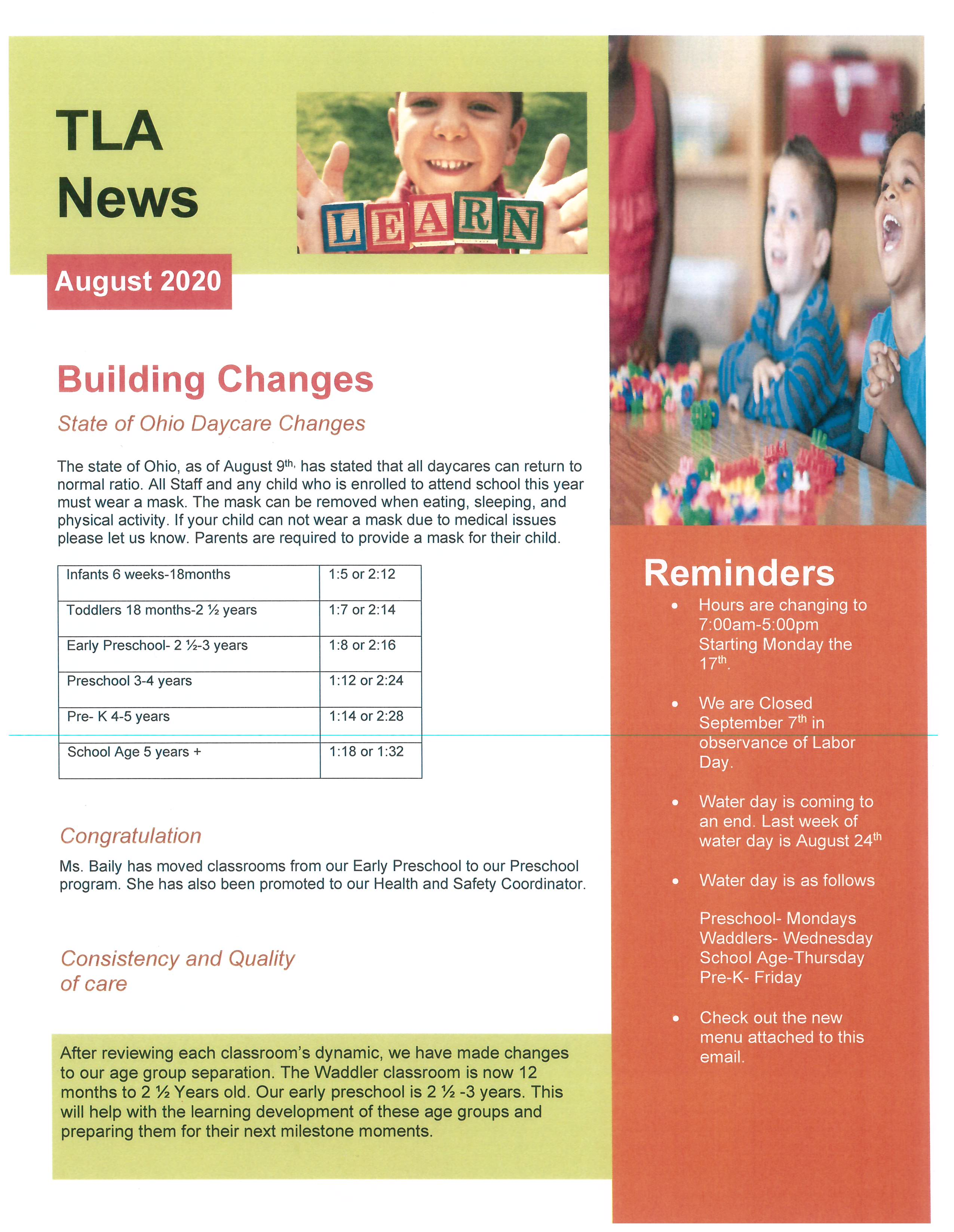 The Learning Academy August 2020 Newsletter