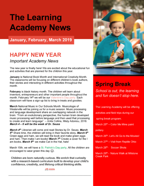 The Learning Academy - Spring Newsletter